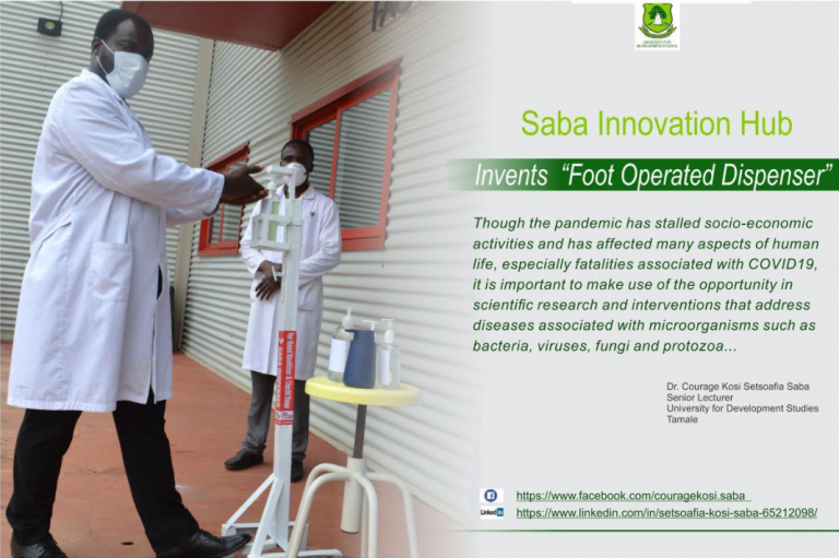 Dr. Courage Kosi Setsoafia Saba inventions and the fight against COVID-19 at UDS