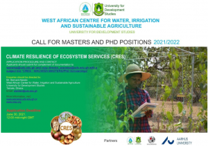 Masters and PhD Positions at WACWISA-UDS